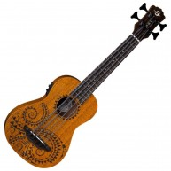 Luna UKE BBASS TAT MAH Acoustic Electric 4-String Tattoo Mahogany Ukulele w