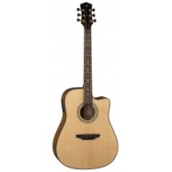 Luna Model ART REC DCE All Solid Acoustic Electric Cutaway Dreadnought Guit
