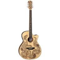 Luna HEN DRA SPR Henna Dragon Spruce &Mahogany Acoustic Electric Cutaway Gu