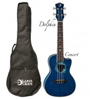 Luna Fauna Series Dolphin Quilted Maple Acoustic/Electric Concert Size Ukul