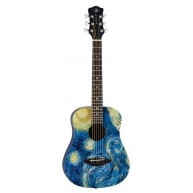 Luna Safari Starry Night 3/4 Size Satin FInish Travel Acoustic Guitar with
