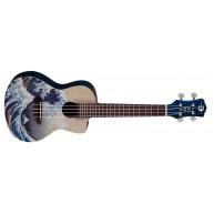 Luna Model Great Wave Graphic Concert Size Acoustic Ukulele with Gig Bag
