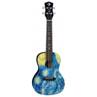 Luna UKE STR C Concert Size Starry Night Design Acoustic Ukulele with Gig B
