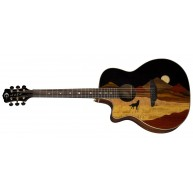Luna Guitars Vista Wolf Left Handed Rosewood Body Acoustic Electric Guitar