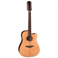 Luna Wabi Sabi Dreadnought Satin Solid Top 12 String Acoustic Electric Guit