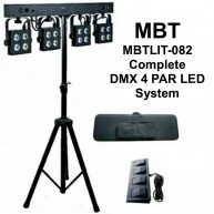 MBT MBTLIT-082 Complete DMX 4 Par LED Light System Tripod Case & Foot Contr