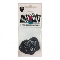 Micks Picks Buzz Cats, .78mm Black Abusite Guitar Picks - Set of 6, Made in