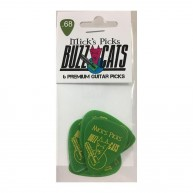Micks Picks Buzz Cats, .68mm Green Abusite Guitar Picks - Set of 6, Made in