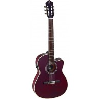 Ortega RCE139T4STR TRANS RED Pro Slim Neck Elec/Acou Classical Guitar-Blem#