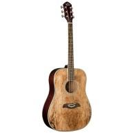Oscar Schmidt OG2SM - Acoustic Spalted Maple Dreadnought Size Guitar - DEM
