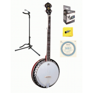 Oscar Schmidt OB5 5-String Resonator Banjo with Strings, Tuner, Stand, and