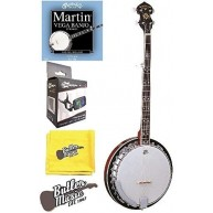 Oscar Schmidt OB5E Acoustic Electric 5-String Banjo with Strings, Tuner and