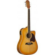 Oscar Schmidt OG2CEFYS Flame Yellow Sunburst Full Size Acoustic Electric Gu