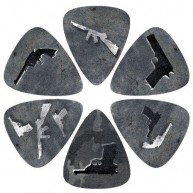 Pack of 6 Perri's Gun Guitar Picks in Collectible Clamshell #LP-PL15