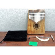 Puka Model TPK-17 DPN solid Acacia Wood Kalimba Thumb Piano with Hammer & B