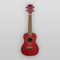 Puka Model PK-HBS Hibiscus Flower Rosette Red Satin Finish Soprano Ukulele
