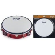 Stagg TAB-208P/RD Red 8-Inch Tunable Plastic Tambourine with 2 Rows of Jing