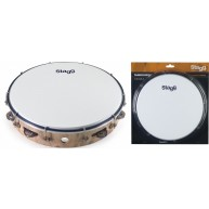 Stagg Model TAB-112P/WD 12-Inch Tunable Tambourine, One Row of Jingles