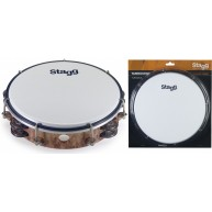 Stagg TAB-208P/WD 8-Inch Tunable Plastic Tambourine with 2 Rows of Jingles