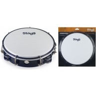 Stagg TAB-208P/BK Black 8-Inch Tunable Plastic Tambourine with 2 Rows of Ji
