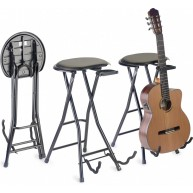 Stagg GIST-350 Foldable Round Stool with Built-In Guitar Stand and Neck Hol