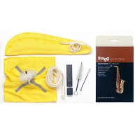 Stagg SCK-PRO-AS Pro Saxophone Cleaning Kit with Swab, Brushes, Cloth, and