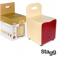 Stagg Kid's Cajon Drum Stool Combo - Red With Back Rest - Model CAJ-KID RD