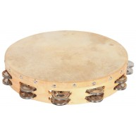 Hw products T12HD 12 inch Tambourine with Two Rows of Jingles and a Cowhide