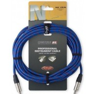 Blue 25' Neutrik Tweed Cloth Covered Guitar Amp Cable Cord Stagg # NGC7,6VT