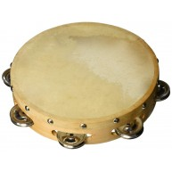 Hw products T8H 8 inch Tambourine with One Row of Jingles and a Cowhide Hea