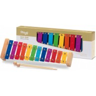 Stagg META-K12 RB 12 Key Rainbow Colored Childrens Metallophone with Mallet