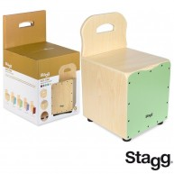 Stagg Kid's Cajon Drum Stool Combo - Green With Back Rest - Model CAJ-KID G
