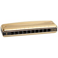 SUZUKI MR-350VG-F Promaster Valved 10 Hole Diatonic Harmonica Gold Key of F