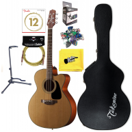 Takamine P1JC 6 String Jumbo Electric Acoustic Guitar w/Case Fender Bundle