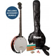 Washburn Americana B8-Pack 5 String Banjo Pack with Gig Bag and more - NEW
