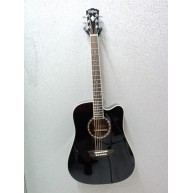 Washburn WD10CEB Black 6 String Acoustic-Electric Dreadnought Guitar -Blem