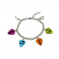 Genuine Fender Love Peace and Music Charm Bracelet with 4 Guitar Pick Charm