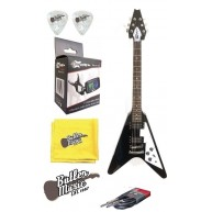 Effin Guitars FV/BK V Shaped Black Electric Guitar, Tuner Cable, and More B
