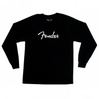Genuine Fender Spaghetti Logo Long Sleeve Black T-Shirt 100% Cotton Size Me