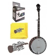 Dean Backwoods BW5 5 string Banjo, Mahog. Resonator with Clip-on Tuner and