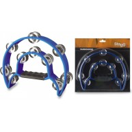 Stagg Model TAB-1-BL - 10 Jingle Half Moon Professional Tambourine - Blue