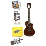 Lanikai QM-RDCEC Quilted Maple Red Cutaway A/E Concert Ukulele with Bag and