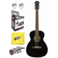 Fender CT-60S BLK Solid Spruce Top Acoustic Travel Guitar w/Effin Tuner & M