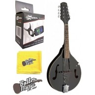 Stagg Model M20 BLK A Style Bluegrass Mandolin with Effin Clip on Tuner Bun