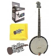 Lucky Penny Deluxe 5 String Resonator Banjo Bundle with Tuner & More Model