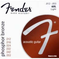Fender 60L Phosphor Bronze Light Acoustic Strings , Ball End - .012-.053 Ga