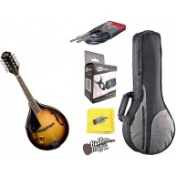 Oscar Schmidt OM10ETSLH Lefty A-Style A/E Mandolin Gig Bag and Tuner Bundle