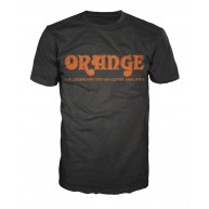 Orange Amplifiers Black Retro Logo Fitted 100% Cotton T-Shirt, Men's Small