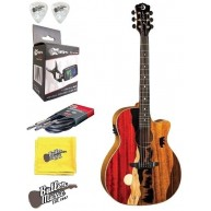 Luna VISTA BEAR Tropical Wood Acoustic-Electric Guitar w/Clip-on Tuner + Mo