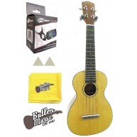 Lucky Penny LP386S Solid Spruce Top Concert Ukulele w/Effin Tuner & More